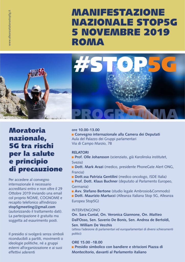 Phonegate Alert invited to the International conference Stop 5G at the Italian Parliament, Smombie Gate | 5G | EMF