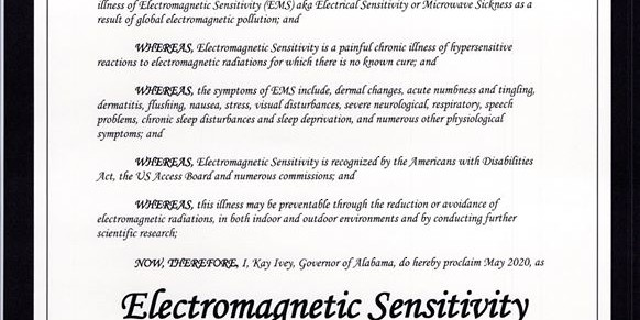 Alabama Governor issues proclamation recognizing electromagnetic sensitivity — May 2020, Smombie Gate | 5G | EMF