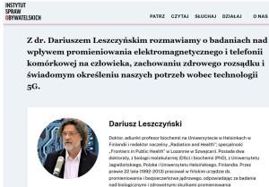Leszczynski interviewed for Polish Instytut Spraw Obywatelskich, Smombie Gate | 5G | EMF